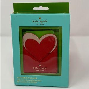 NWT Kate Spade Heart sticker pocket